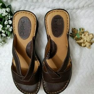 BOC Leather Brown Wedge Slip On Shoe